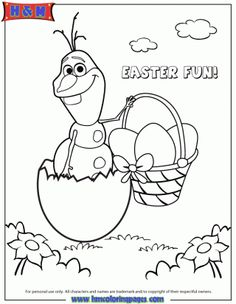 Frozen Character Olaf Hatching From Easter Egg Coloring Page.