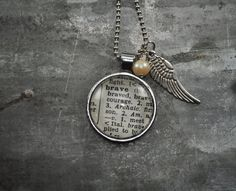 Vintage Dictionary Word Necklace BRAVE by kraftykash on Etsy