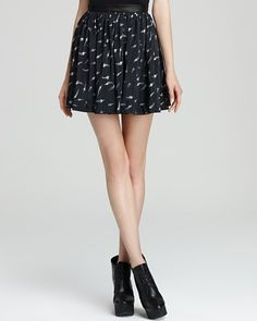 Rebecca Taylor feather print skirt