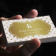 Nail Technician Manicurist - Chic White Gold Dots Business Card Template