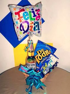 Idea #4. Candy Bouquet, Gift Bags, Pop Tarts, Fathers Day, Balloons, Snack Recipes, Basket, Sweets, Gifts