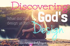 What did God design us for? What is our purpose? How do we find it and how do we walk in it? A look at Discovering God's design for our lives.