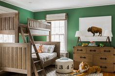 Boy room remodel tips - There are specific furniture pieces and lighting techniques which can help your home appear larger. You have many tricks readily available for setting up a small living area. Green Kids Rooms, Green Boys Bedrooms, Kids Bedroom, Bedroom Decor, Bedroom Furniture, Safari Bedroom, Kid Furniture, Furniture Design, Bunk Bed Designs