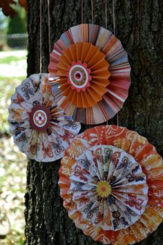 Butterfly Kisses, Set of 3 Paper Rosettes To Order: https://www.etsy.com/listing/85126711/set-of-3-fall-hanging-paper-rosette