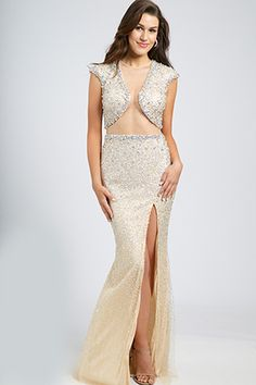Cap Sleeve Embellished Gown 98043