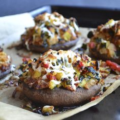 Vegetable Stuffed Portabella Mushrooms | taste love and nourish. Leave cheese out completely or replace with favorite store bought or homemade cheeze for vegan.