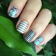 Jamberry Serene, Country Club and black and white skinny