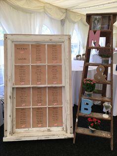 Wedding table plan. Rustic sash window. Wedding ladder
