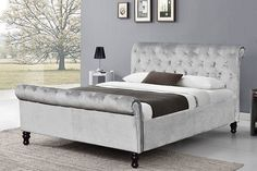 Luxury Grey Velvet Sleigh Bed with Reversible Storage Ottoman Double King Size Sleigh Bed Frame, Sleigh Beds, Double Beds For Sale, Bedroom Furniture, Bedroom Decor, Painting Furniture, Bed Frames For Sale, Velvet Bed, Ottoman Bed