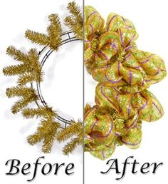 Poly mesh work wreath: before and after