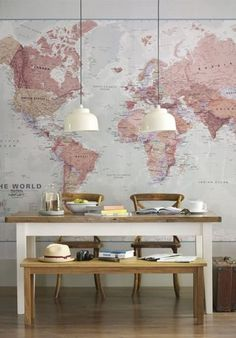 Wereldkaart op de muur | Stripesandwalls.nl