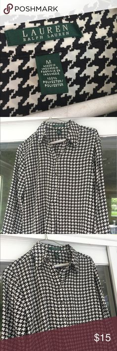 Ralph Lauren Houndstooth Shirt Ralph Lauren Houndstooth Black and White Long Sleeve Shirt Lauren Ralph Lauren Tops Blouses