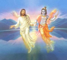 What if Christ met Krishna? Christ and Krishna are two of the greatest teachers of love that the world has ever known. Hare Krishna, Krishna Art, Krishna Images, Religion, Gita Quotes, Ascended Masters, A Course In Miracles, Bhagavad Gita, Hindu Deities