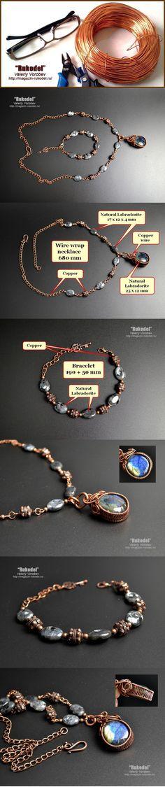 Wire Jewelry Sets (Necklace, Wire Wrap Pendant, Bracelet) #wirejewelry
