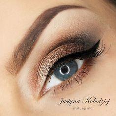 'Blue Eyes' look by Justyna Kolodziej using Makeup Geek's Corrupt, Mocha, Pretentious, and Vanilla Bean eyeshadows.:
