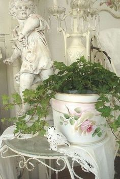 Shabby Chic Painted Planter Pot. #ShabbyCottage
