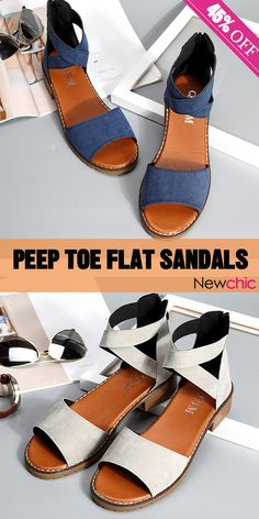 257841faedf4 Summer Hot Sale Style.Strappy Zipper Peep Toe Flat Sandals For Women.Click  and