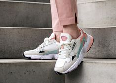adidas Falcon W (White Tint / Raw White / Trace Pink) - Adidas White Sneakers - Latest and fashionable shoes - Sneakers Mode, White Sneakers, Air Max Sneakers, Sneakers Adidas, Adidas Shoes Women, Chunky Sneakers, Nike Women, Trendy Shoes, Cute Shoes
