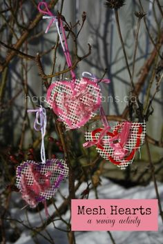 Heart weaving fine motor activity with wool & crafting scraps.