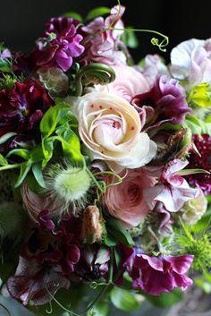 Mauves  pinks, sweet peas, ranunculus, pansies (ririnono diary)