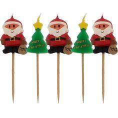 Fine julelys dekorationer til juledekorationer og borddekorationer til juleaften og julefrokost: Julemand og Træ Lys på Pinde - Pakke med 5