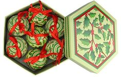 Felices Pascuas Collection 7-Piece Red and Green Holly Berry Decoupage Shatterproof Christmas Ball Ornament Set 2.75 inch