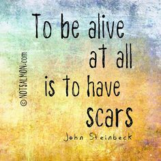 To be alive at all is to have scars. - John Steinbeck @notsalmon (click image for inspiration and happiness tools)