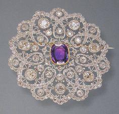 Edwardian Amethyst and Diamond Brooch