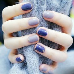 Light lavender and purple nails