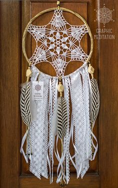 Boho Dream Catcher Large white wall hanging by GraphicMeditation