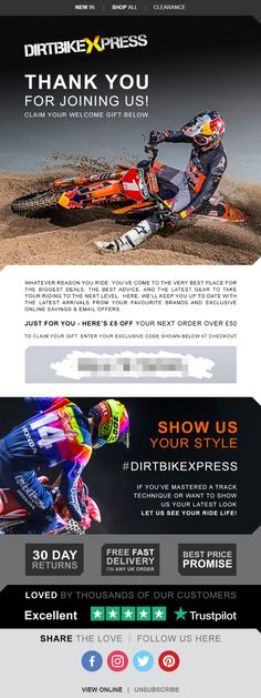 Welcome Email from DirtBikeXpress