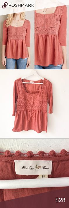 "Meadow Rue Nosara Babydoll Crochet Lace Top Medium Anthropologie Meadow Rue Nosara Lace Top Size Medium Peasant boho style Square neckline  3/4 Sleeves Terracotta color Lace and crochet detail on front 100% Cotton  Great pre-owned condition. Size tag is missing, measurements below confirm this is a size medium. Approximate measurements: 18"" pit to pit 27"" long Anthropologie Tops"