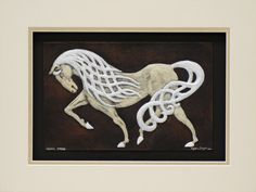 Celtic Steed - FRAMED - Cast Paper - Celtic Horse - Horse - Irish art - Celtic art - Pony - Epona - Rhiannon. $105.00, via Etsy.