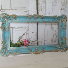 Large vintage frame wall hanging Caribbean ocean blue shabby cottage chic display distressed accented in gold home decor anita spero design