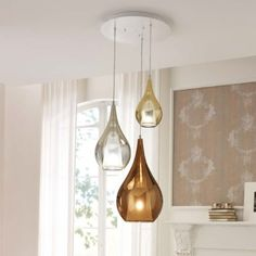 **Gold / Steel / Bronze** In this 3 Light pendant we have a small gold, medium steel and large bronze. Shop Lighting, Interior Lighting, Lighting Ideas, 3 Light Pendant, Pendant Lighting, Light Fittings, Light Fixtures, Entry Way Lighting Fixtures, Glass Diffuser