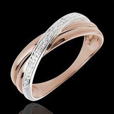 anello spirale oro rosa e bianco con diamanti
