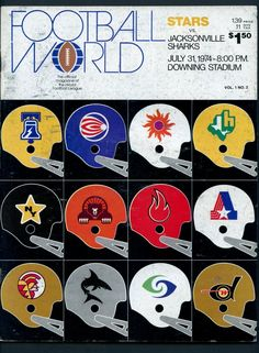 dd409462c8e World Football League (WFL) helmets. The Memphis Southmen are shown to have  an orange helmet but all other sources show them with a white helmet.