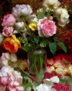 "West Wind Fine Art - Daniel Keys Gallery ""Jar of Roses"" Look at the way he handles the petals -wow Peony Painting, Garden Painting, Daniel Keys, Bouquet, Keys Art, Floral Artwork, Acrylic Flowers, Painting Still Life, Rose Art"