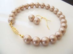 Swarovski powdered almond pearl bracelet and earring set 8mm round pearls