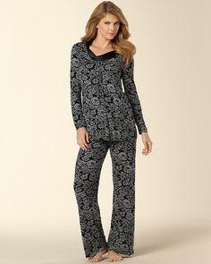 Soma Intimates Midnight By Carole Hochman Pajama Set Matelasse Floral Print   somaintimates Sleepwear Women cf40c6e26