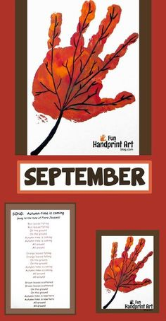 Handprint Leaf for September – Handprint Calendar : Handprint Leaf Craft for September - Keepsake Calendar Looking for a handprint calendar idea for the month of September? We made a handprint leaf and paired it with the Autumn is Coming poem for kids. September Art, September Crafts, September Calendar, Calendar Calendar, September Preschool Themes, Calendar Design, Daycare Crafts, Classroom Crafts, Daycare Rooms