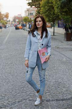 periwinkle Sheinside coat - sky blue Sheinside jeans - bubble gum Bershka bag