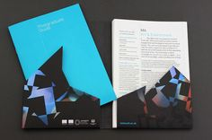 Falmouth University's postgraduate guide which took the form of a die-cut A5 folder with a blind embossed design. Into this was inserted a full colour booklet  | Nixon Design #Print #Editorial #Illustration #Geometric #University #Falmouth