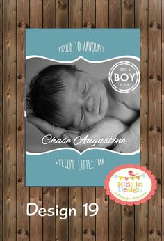 Baby Boys Printable Birth Announcement  Digital by KidsInDesign, $18.00