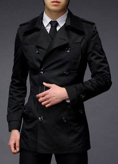 Solid Black Button Fly Design Turndown Collar Trench Coat