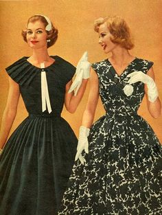 It's not even funny how much I want/love the white and black dress on the right. #1950s #vintage #fifties #fashion #style #makeup #beauty #cosmetics #dresses #clothes #clothing #blackandwhite