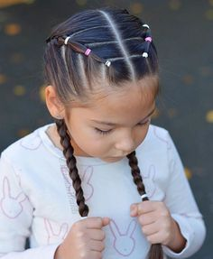 cool girl hairstyles Elastics and French braids for school and gymnastics. Have a great Wednesday! Cute Little Girl Hairstyles, Little Girl Braids, Easy Hairstyles For Medium Hair, Baby Girl Hairstyles, Girls Braids, Box Braids Hairstyles, Toddler Hairstyles, Toddler Hair Dos, Pretty Hairstyles