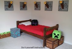 Set of all 6 of my Minecraft Inspired by CastleRainCreations, $8.95 .  Just one or two for either side of the bed