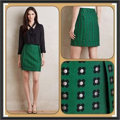 Garden Glimmer Skirt by HD in Paris (Anthro) BNWT!!!  Never worn and in excellent condition!!  This is a gorgeous green skirt WITH pockets.  This shirt showcases a festive hue and classic silhouette that's versatile enough to go from the office to an evening out.    The skirt is polyester with polyester lining, metallic and pleat detail with front pockets, a tiered hem and side zip.  No longer available from Anthropologie.  No trades.  No PayPal.  Smoke-free home.   Anthropologie Skirts