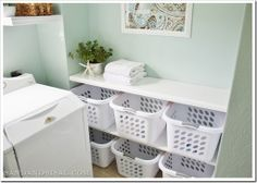 example of laundry basket organization with folding table on top